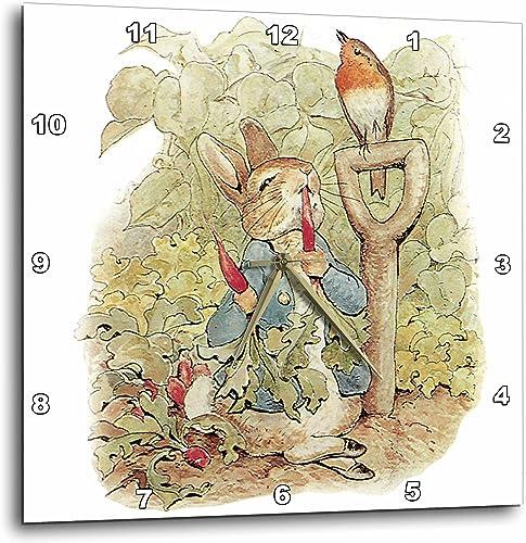 3dRose DPP_110164_3 Peter Rabbit in The Garden-Vintage Art-Wall Clock, 15 by 15-Inch