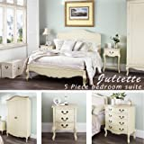 Juliette Shabby Chic Champagne King bed 5pc bedroom suite. Cream 5ft bed, bedside table, wardrobe, chest of drawers. FULLY ASSEMBLED