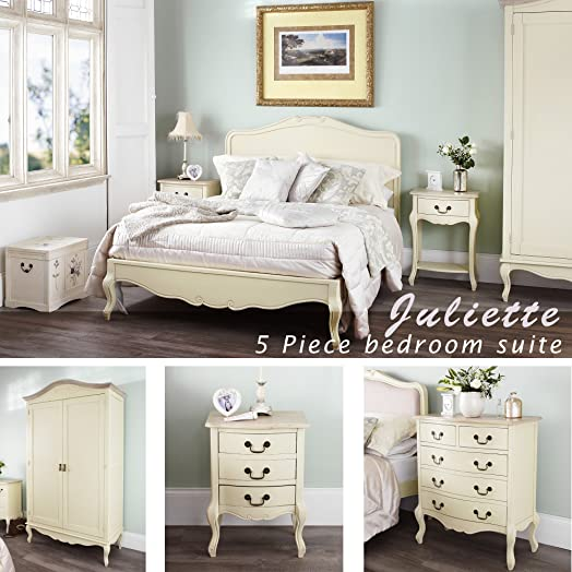 Juliette Shabby Chic Champagne Double Bed 5pc bedroom furniture ...