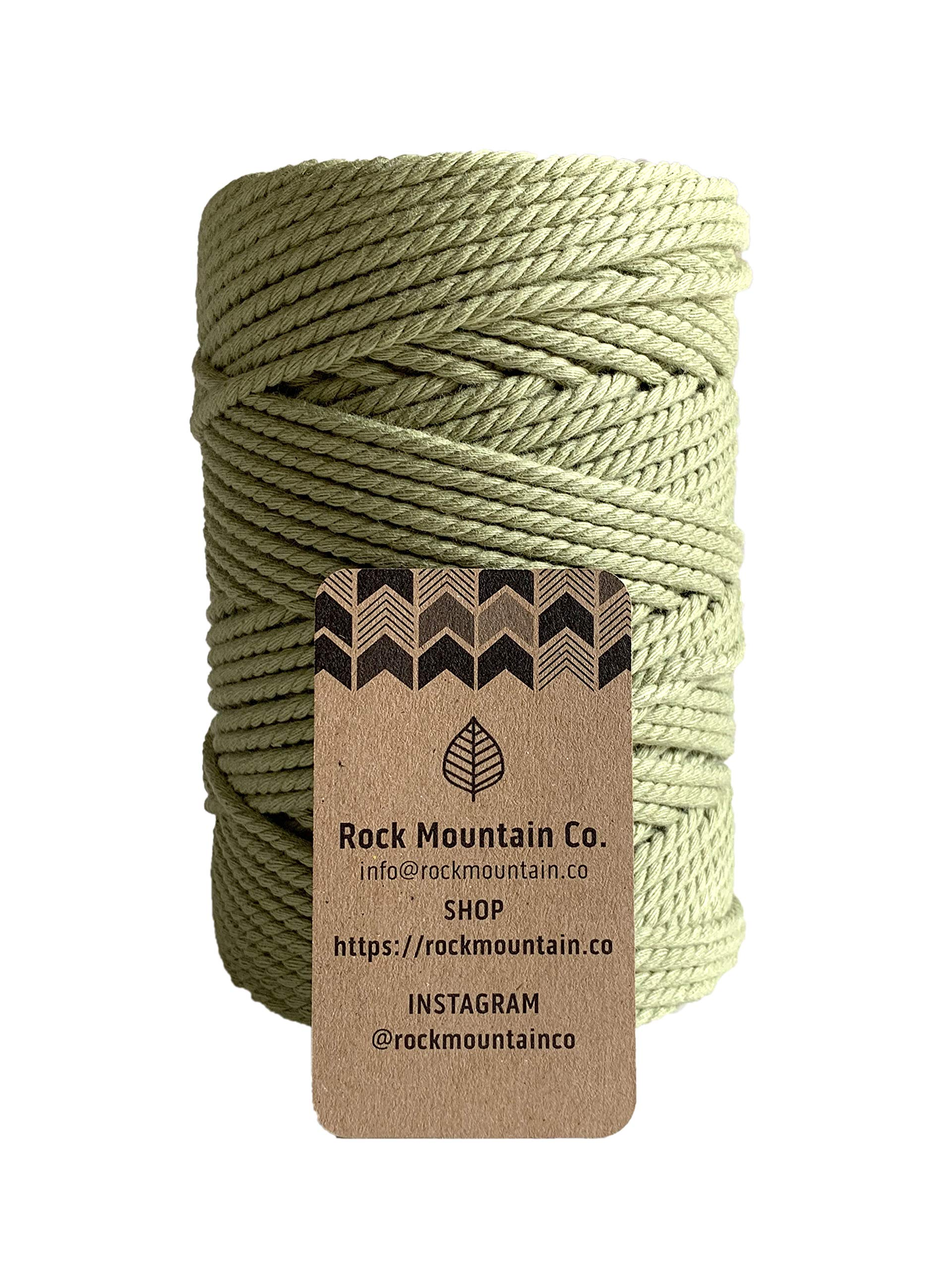 4mm 3 Strand Twisted Macrame Rope - Moss Green