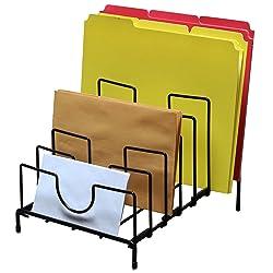 DecoBros Desk Stacking File Sorter, 7 Sections, Black