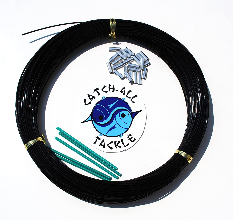 Monofilament Fishing Leader Kit 100yds 2.0mm-400lb Black with Loop Protectors crimps