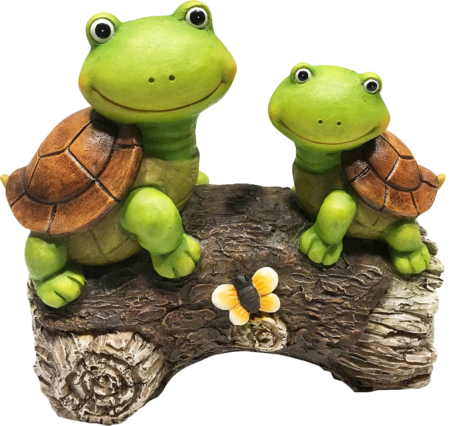 "LA JOLIE MUSE Garden Statue Lawn Ornaments - 9"" Cute Frog Face Turtles on a Log Resin Animal Sculpture Indoor Outdoor Art Decor, Patio Yard Decorations, Housewarming Gift"