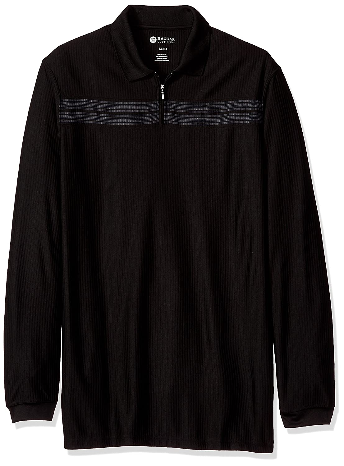 Haggar Mens Big-Tall Men's Big&Tall Long Sleeve Quarter Zip Chest Stripe Haggar Men' s Tops 555040X