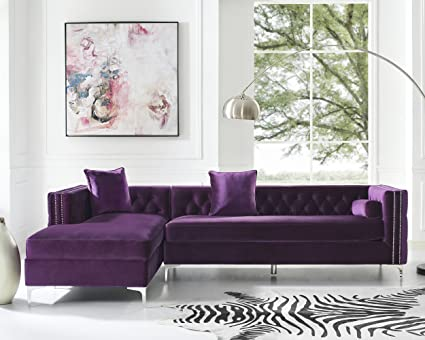 Inspired Home Giovanni Purple Chaise Sectional Sofa   115u0026quot; Left Facing  | Velvet Tufted |