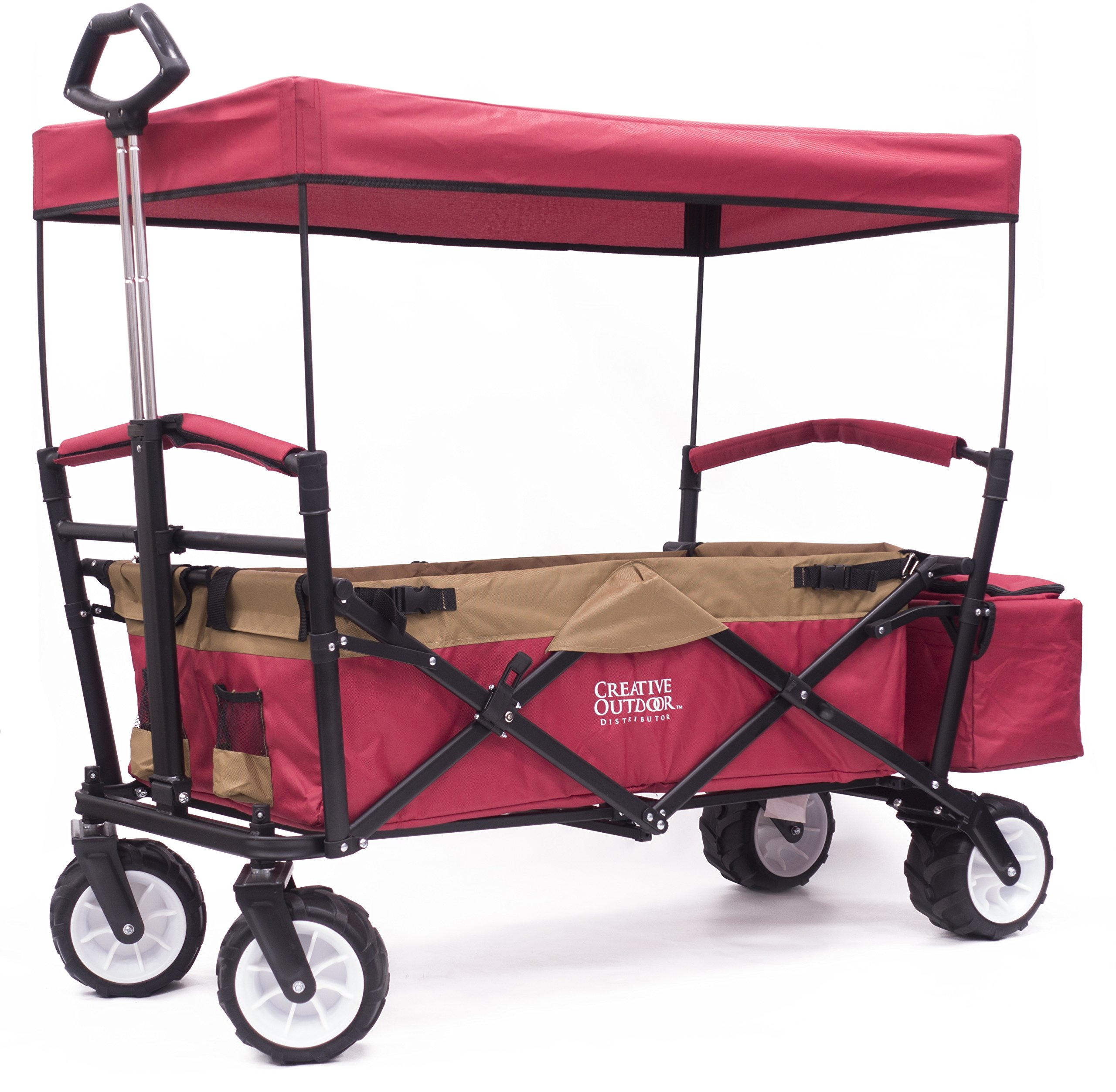 Folding SPORTS Wagon with All-Terrain Rubber Tires, Removable Canopy, and Storage Basket + FREE Cooler (Red/Gold) 900558