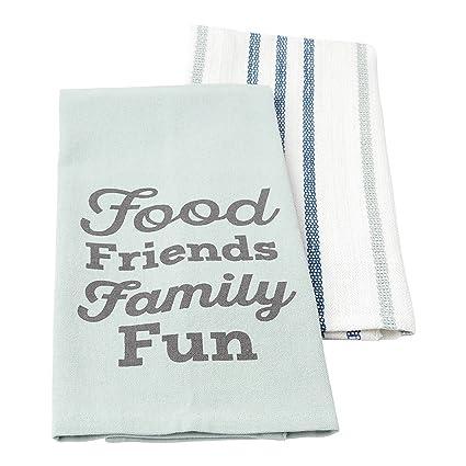 Hallmark Home Cotton Kitchen Tea Towels (Set Of 2), Food Friends Family Fun