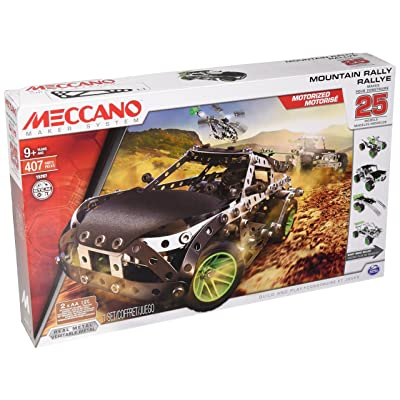 Meccano Erector, Motorized Mountain Rally Vehicle, 25 Model Building Set, 407 Pieces, for Ages 9+, STEM Construction Education Toy: Toys & Games