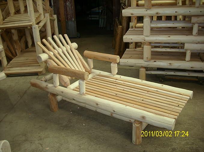 Amazon.com: Blanco de cedro Log ajustable Chase Lounge ...