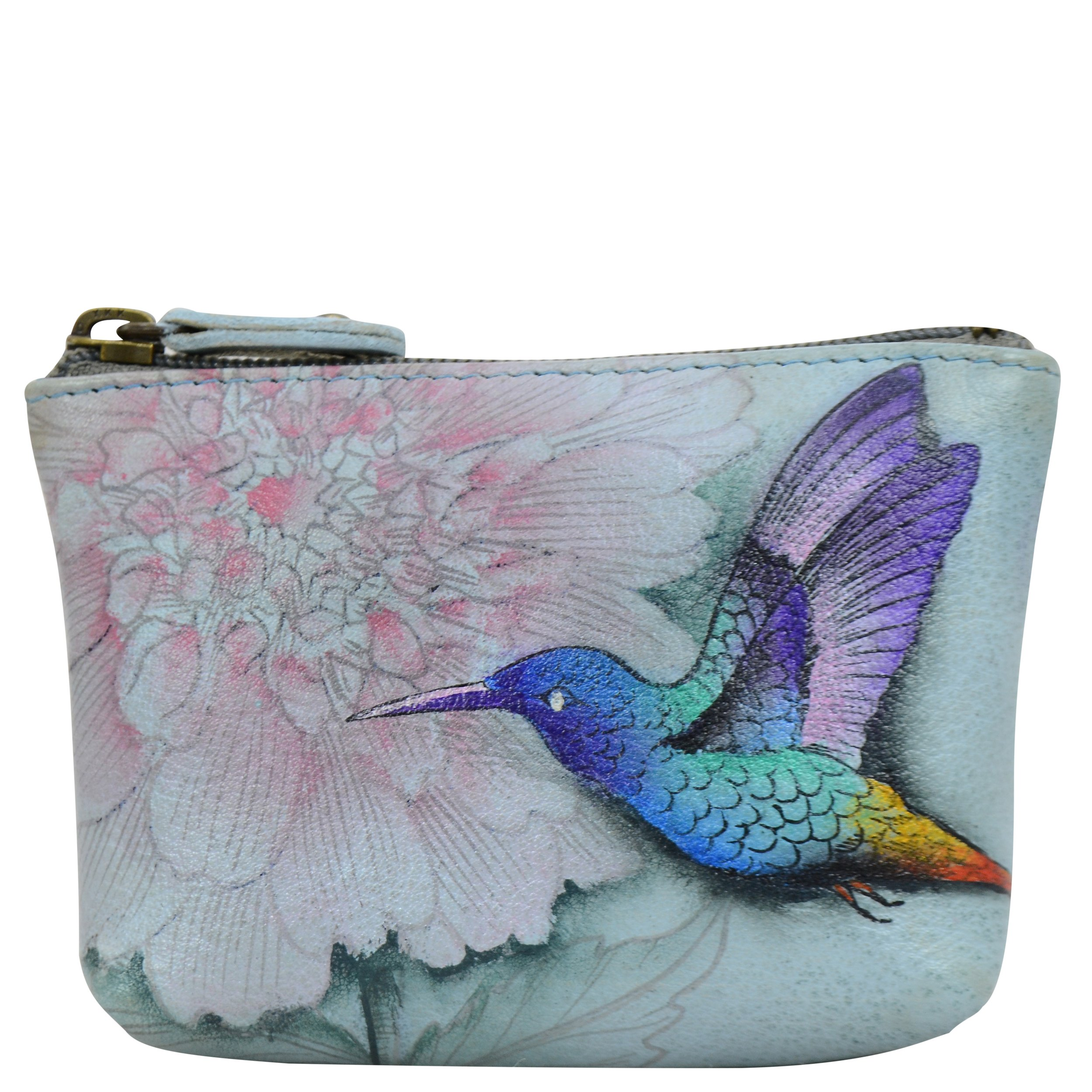 Anuschka Women's Genuine Leather Coin Pouch | Hand Painted Original Artwork | Rainbow Birds by Anuschka