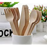 Earth Stix Disposable Wooden Cutlery Set - Natural & Biodegradable Birch Wood. Eco-Friendly Utensils Perfect For Any Outdoor Occasion Or Party. (100 Forks)
