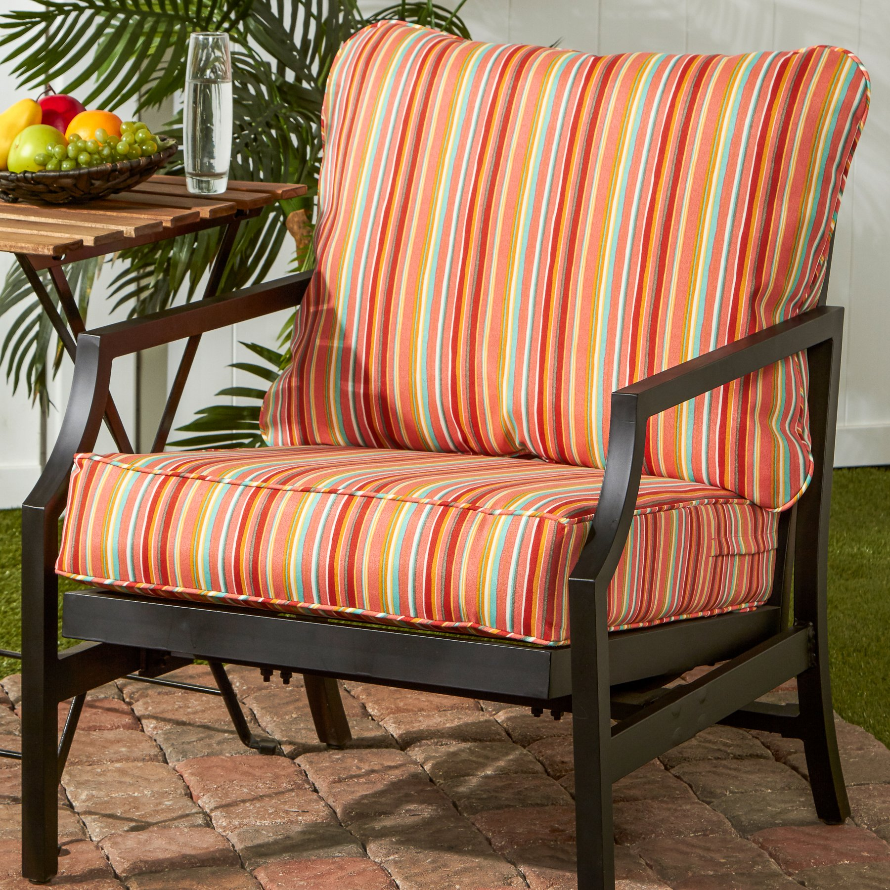 Greendale Home Fashions Deep Seat Cushion Set in Coastal Stripe, Watermelon by Greendale Home Fashions (Image #3)