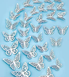 36PCS 3D Butterfly Wall Decor Silver Butterflies Wall Stickers 3 Sizes & 3 Hollow-Carved Design Removable Butterfly Wall Decals DIY Butterfly Decorations for Bedroom Living Room Home Party (Silver)