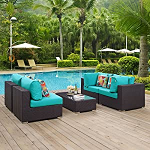 Modway Convene Wicker Rattan 5-Piece Outdoor Patio Furniture Set in Espresso Turquoise