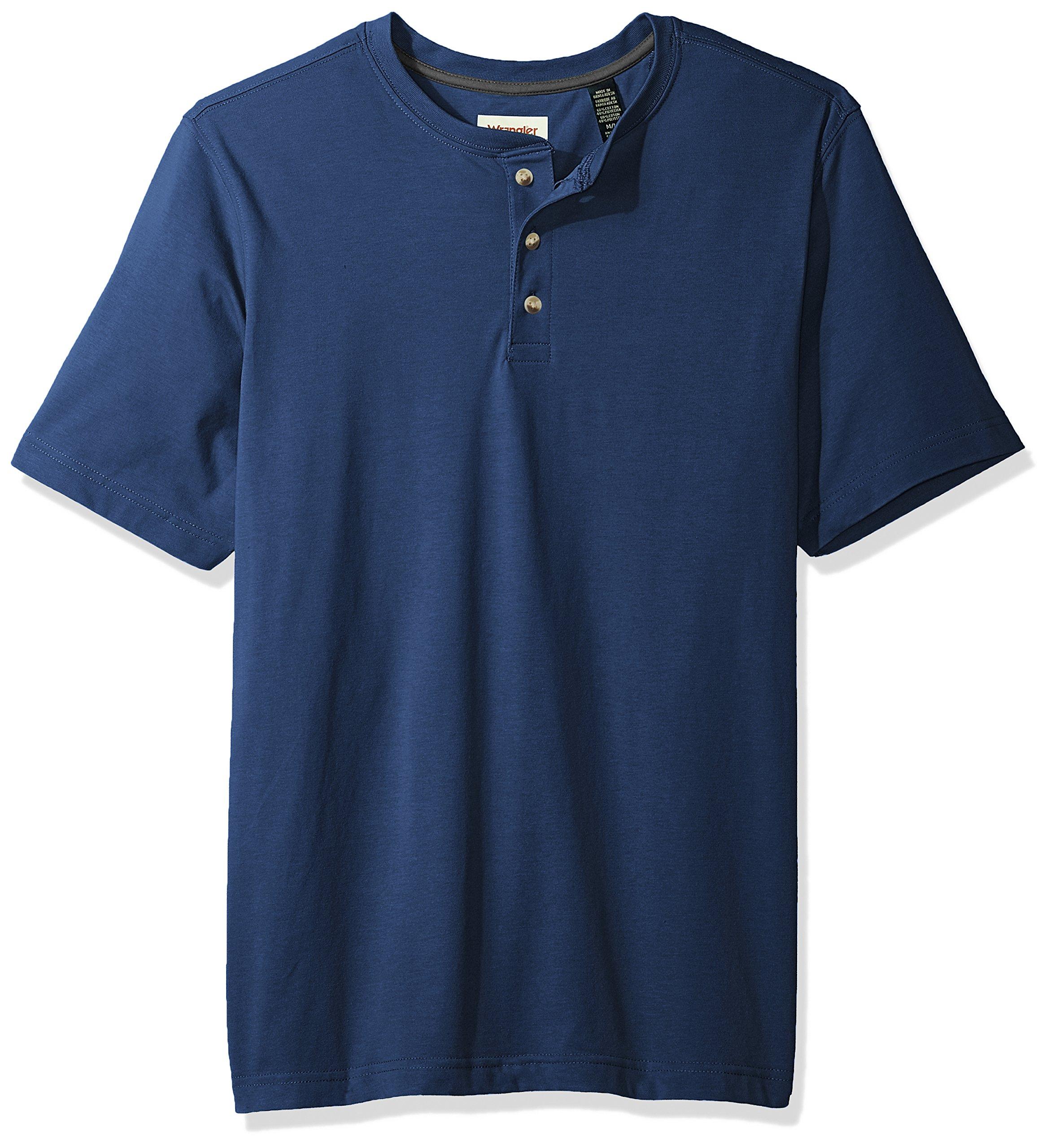 Wrangler Authentics Men's Big & Tall Short Sleeve Henley Tee, Dark Denim, XL by Wrangler