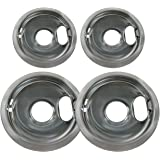 "Chrome Drip Pan Bowl Set Replacement for Whirlpool W10278125 : 2 ea 6"" W10196406 and 8"" W10196405"