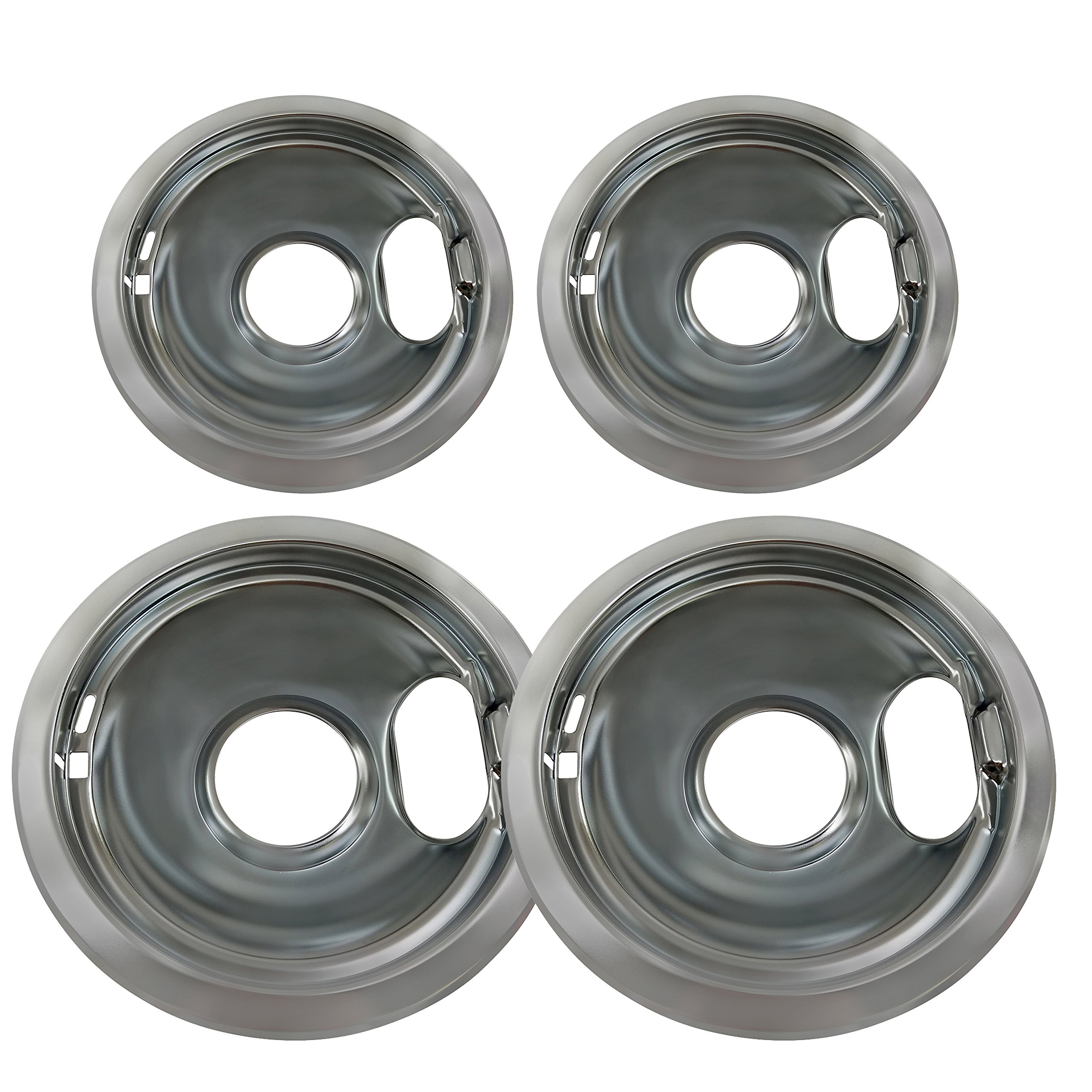 4 Pack Replacement for Whirlpool W10278125 Electric Range Chrome Reflector Bowls