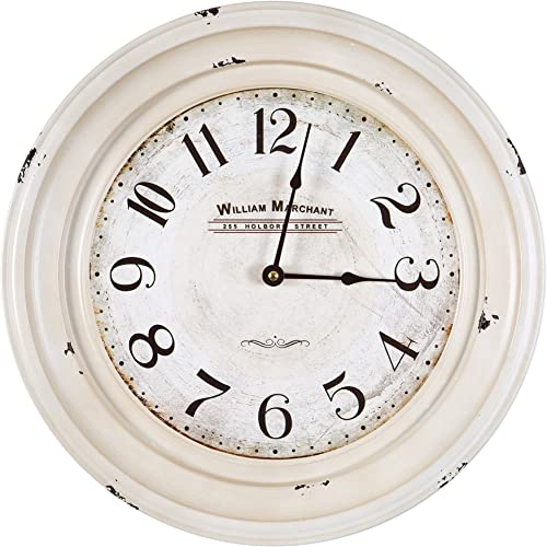 Yosemite Home Decor Circular Iron Wall Clock, White Frame, White Face, Black Text, Black Hands