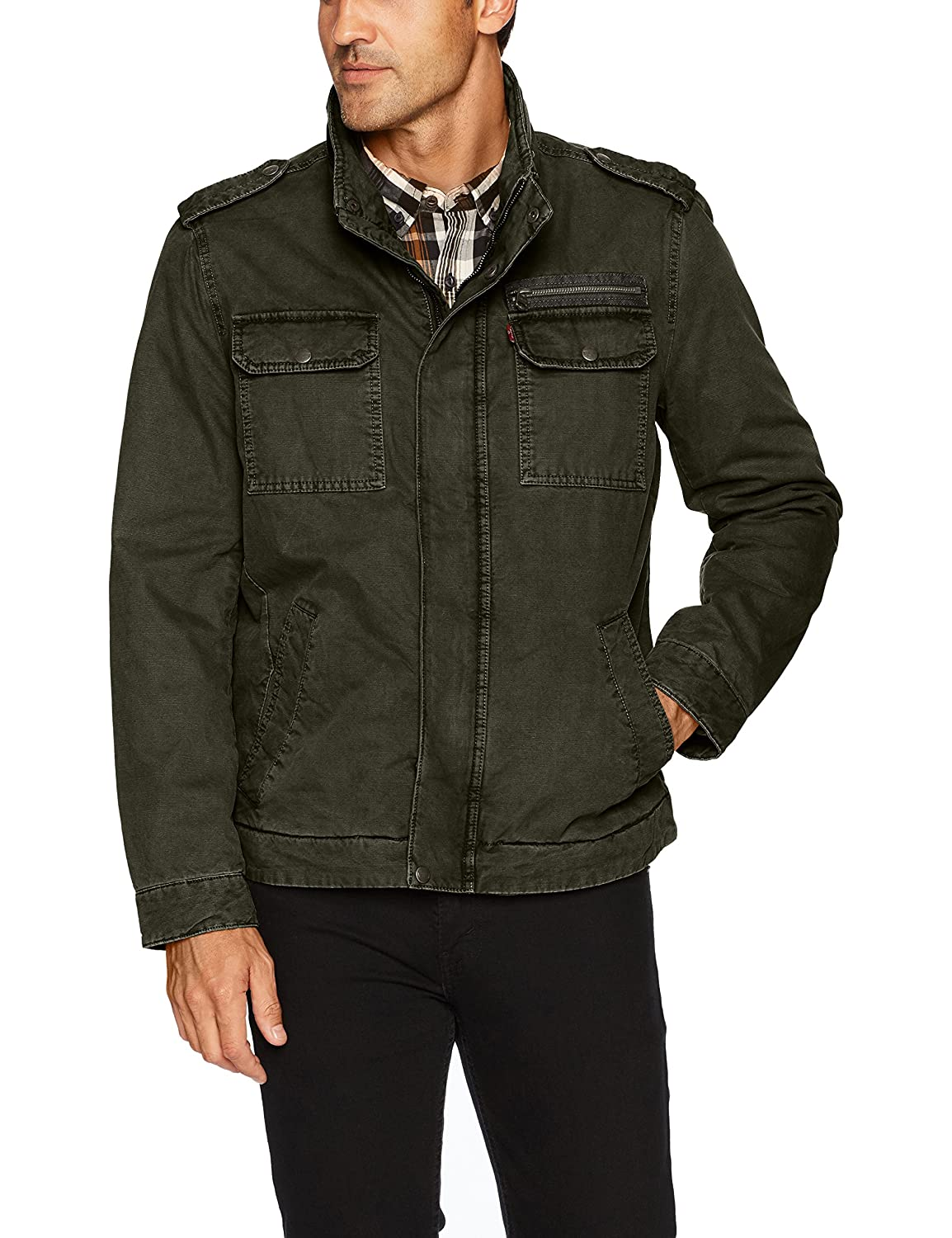 Levi's Men's Washed Cotton Two Pocket Military Jacket LM7RC485