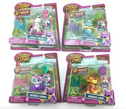 NEW! National Geographic Animal Jam COMPLETE COLLECTION Bundle with Magic  Horse, Sparkle Tiger, Lucky Lynx, and Twinkle Panda INCLUDES 4 LIGHT UP