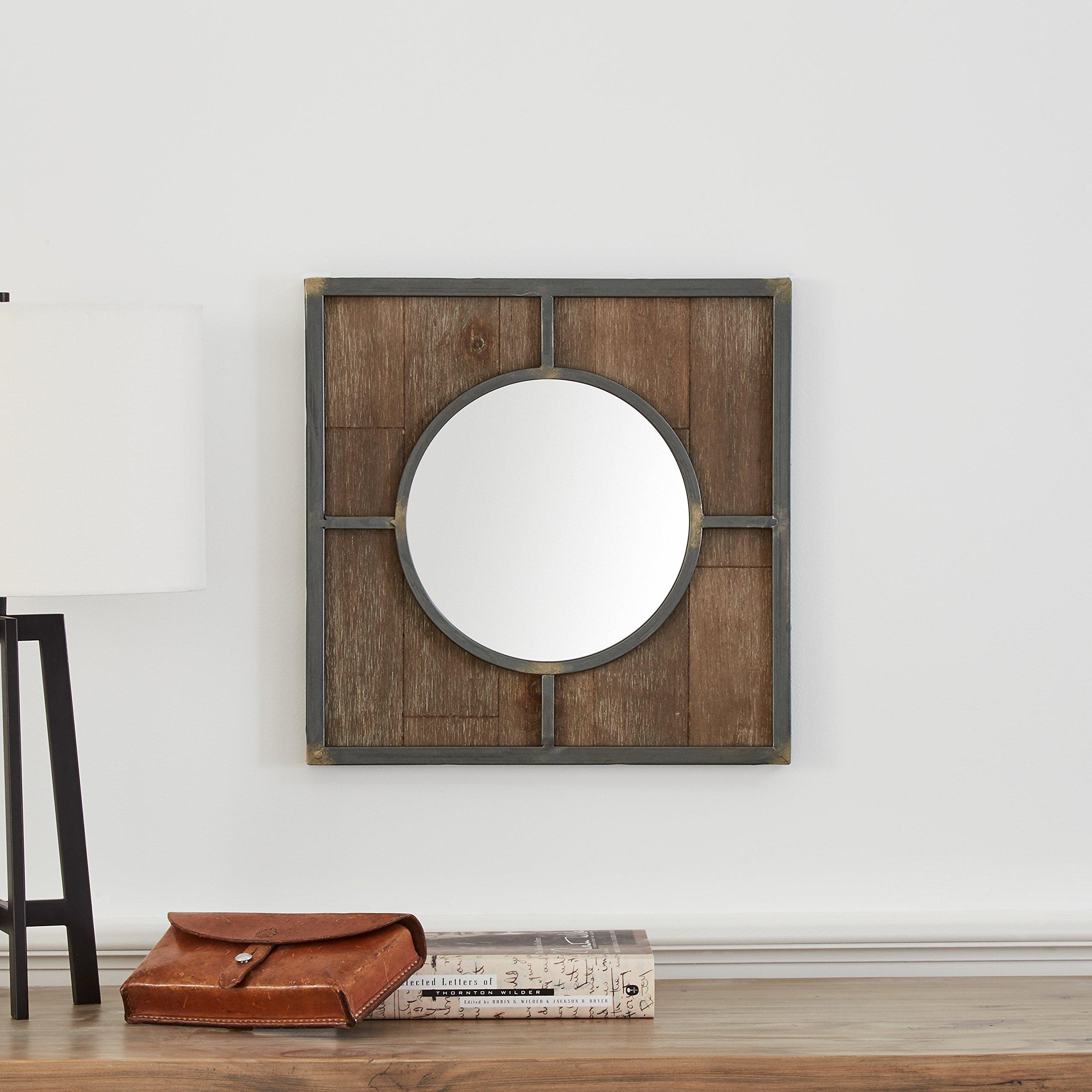 Stone & Beam Round Wood Quadrant Mirror, 15''H, Dark Wood Finish by Stone & Beam (Image #2)