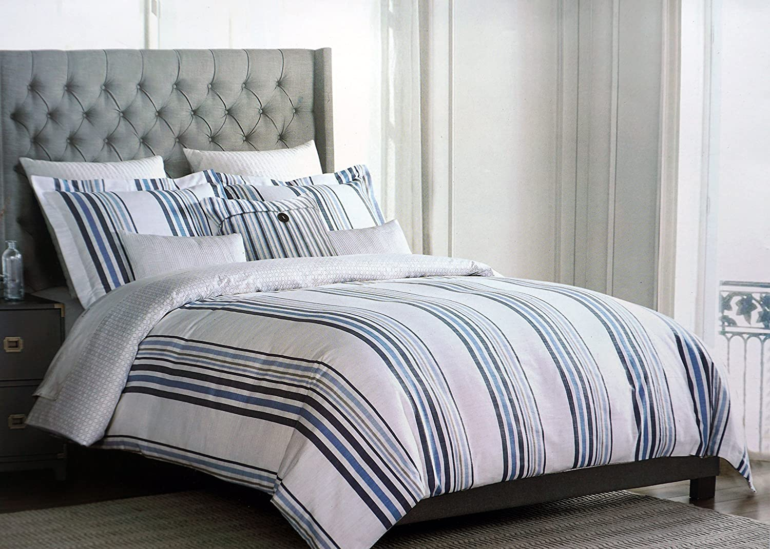 Tahari Home Bedding 3 Piece King Size Bed Reversible Duvet Cover Set Linen Texture Blue Beige Stripes of Varying Widths on a White Background