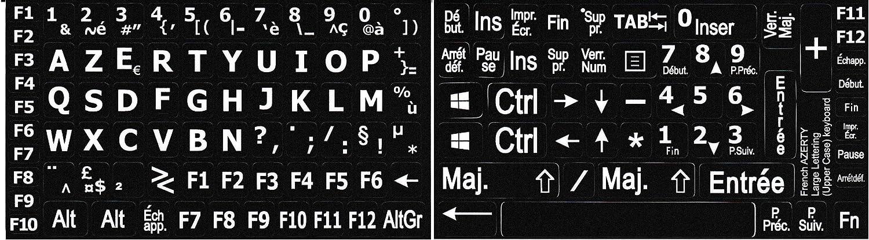 Pegatinas con letras grandes para teclado de PC (teclado francés AZERTY)