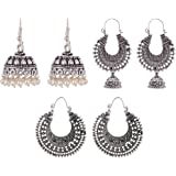 Ganapathy Gems Silver Metal Jhumki Earrings for Women (Combo of 3, GPJC43)