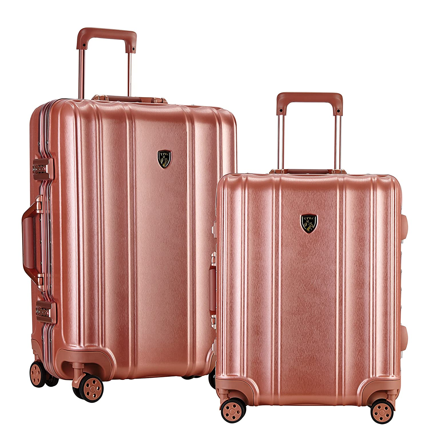 Color-Coordinated Accented Luggage with Dual TSA Locks Includes 28 Suitcase and 20 Carry-On Luggage TPRC 2 Piece Donna Collection Surdy Aluminum Frame Rose Color Option Travelers Club Luggage HS-38102-RG WIDE-BODY