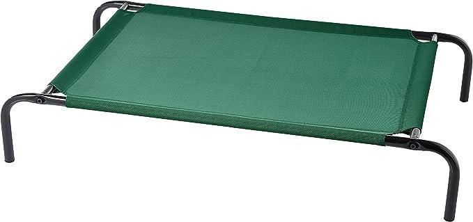 Amazon Basics - Cama elevada transpirable para mascotas, mediana (110 x 65 x 19 cm), verde