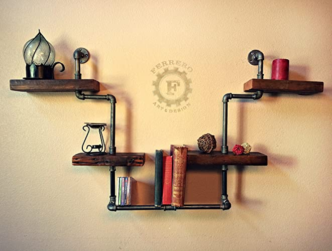 Amazon.com: Steampunk Shelf, Industrial Shelf, Wood Shelf, Pipe ...