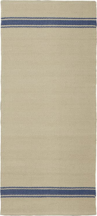 Jute & Co Panama Alfombra Tejido A Mano, 100% algodón, Beige/Azul, 140 x 60 x 0.5 cm: Amazon.es: Hogar