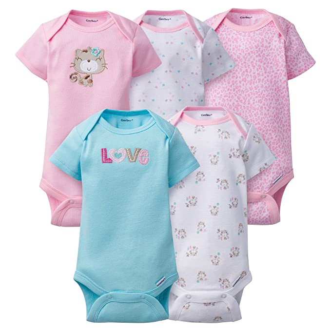5d10ba34617d Amazon.com  Gerber Clothing Baby Girls 5 Pack Variety Onesies ...