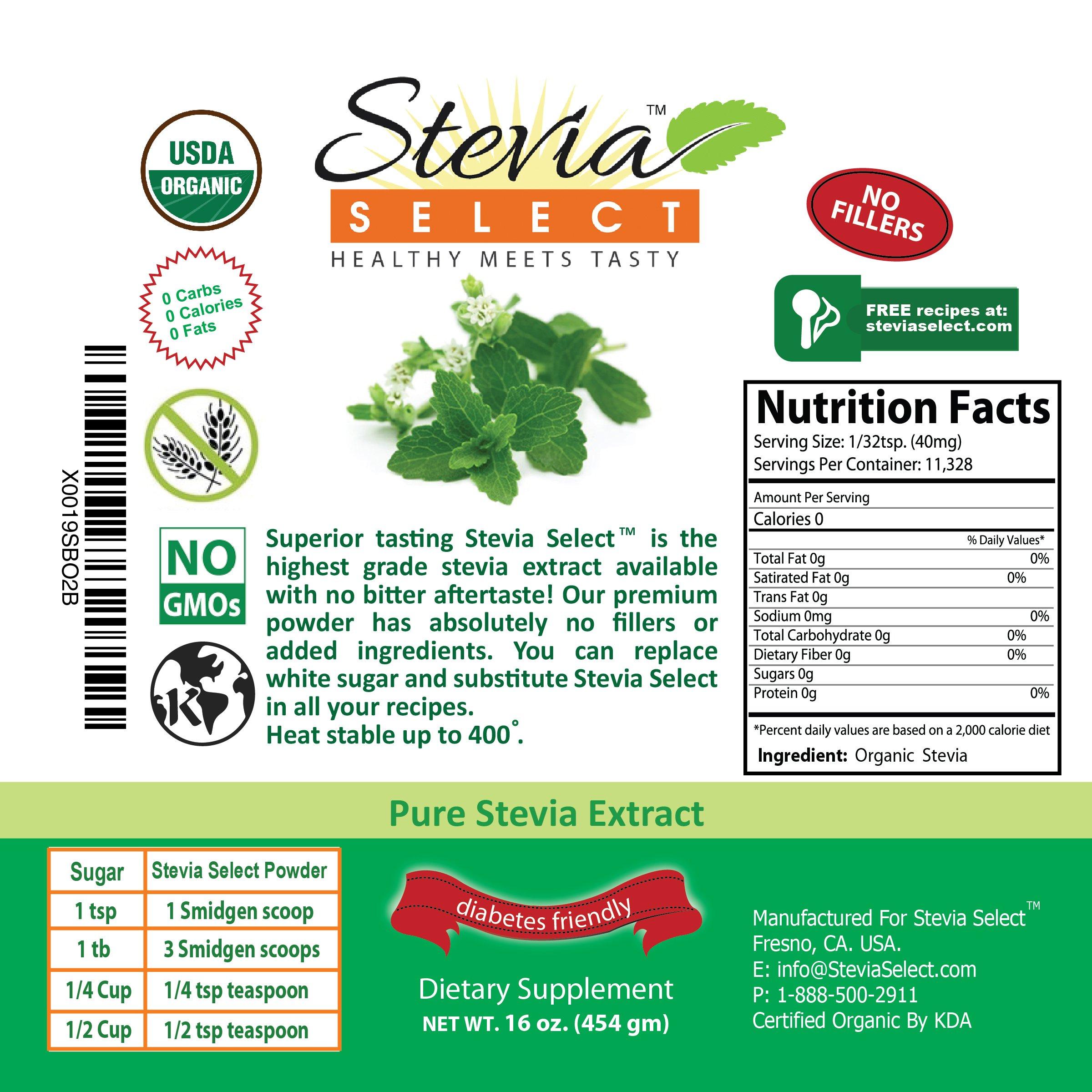 Stevia powder (1LB) Stevia Select Pure Stevia Extract-Bulk Stevia Organic, Kosher, Non-GMO Certified- Best tasting Available Guaranteed! by Stevia Select (Image #3)
