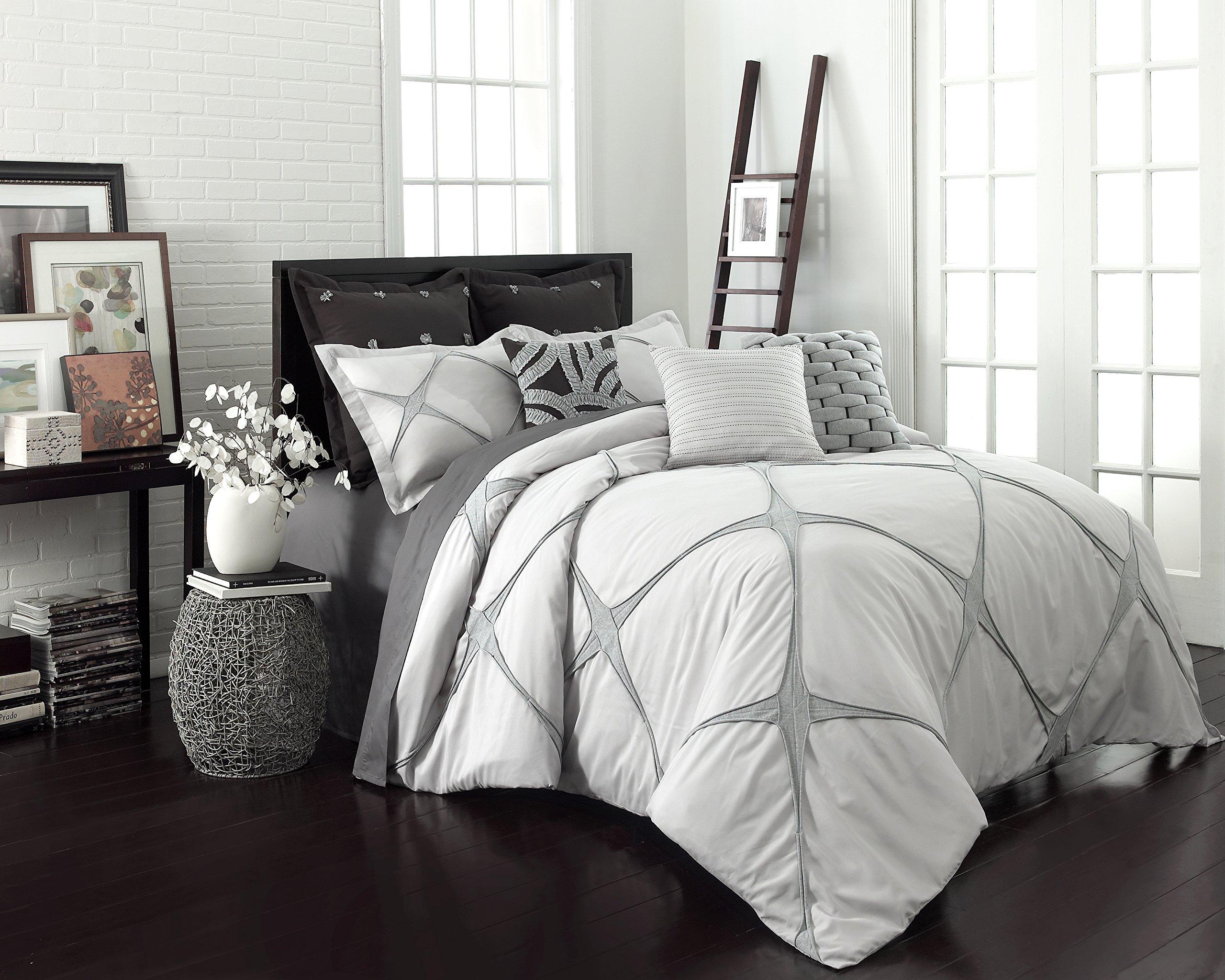 Vue 3 Piece Cersei Fashion Comforter Set, Queen, Grey