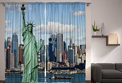 Ambesonne New York Curtain