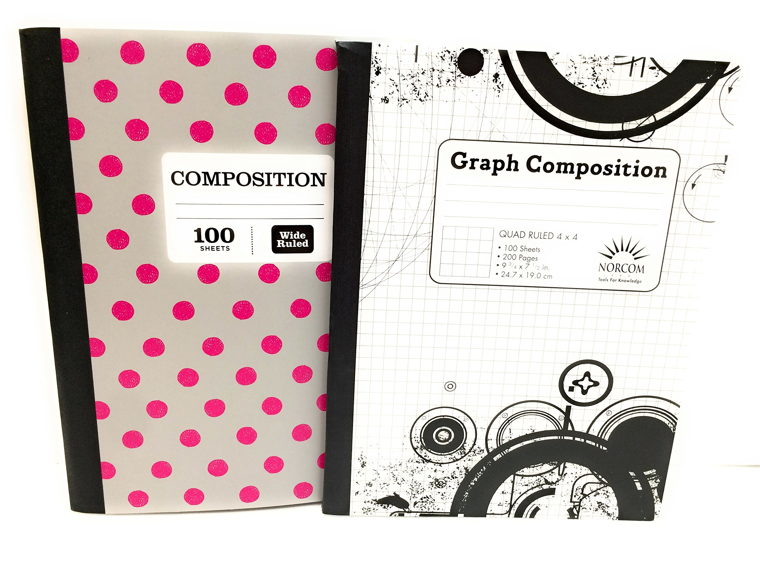 Gray & Pink Polka-A-Dots/4 x 4 Graph Notebook ~ Pack of 2