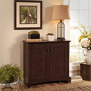 Bush Furniture Buena Vista Small Storage Cabinet with Doors in Madison Cherry