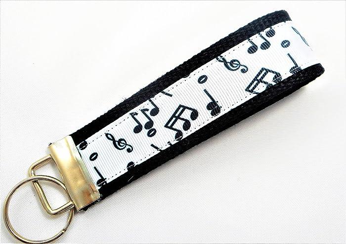 Key Fob Keychain >> Amazon Com Music Notes Ribbon Wristlet Key Fob Keychain Black Handmade