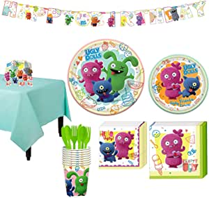 Party City Ugly Dolls Tableware Supplies for 8 Guests, Includes Birthday Banner and Table Decorations