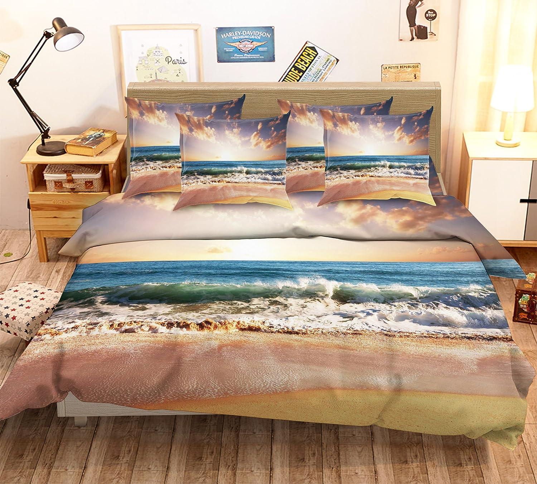 3D ダスク オーシャン ビーチ 78 寝具枕カバーキルト羽毛布団カバーセットシングルクイーンキング| 3D写真の寝具 Summer (ツイン) B07BZM37B5 ツイン ツイン