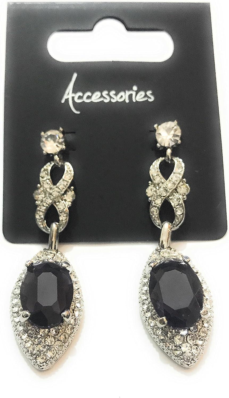 Diamante cristal plateado Drop pendientes con tamaño grande oscuro morado diamantes, disfraz, joyería, bodas, bailes.