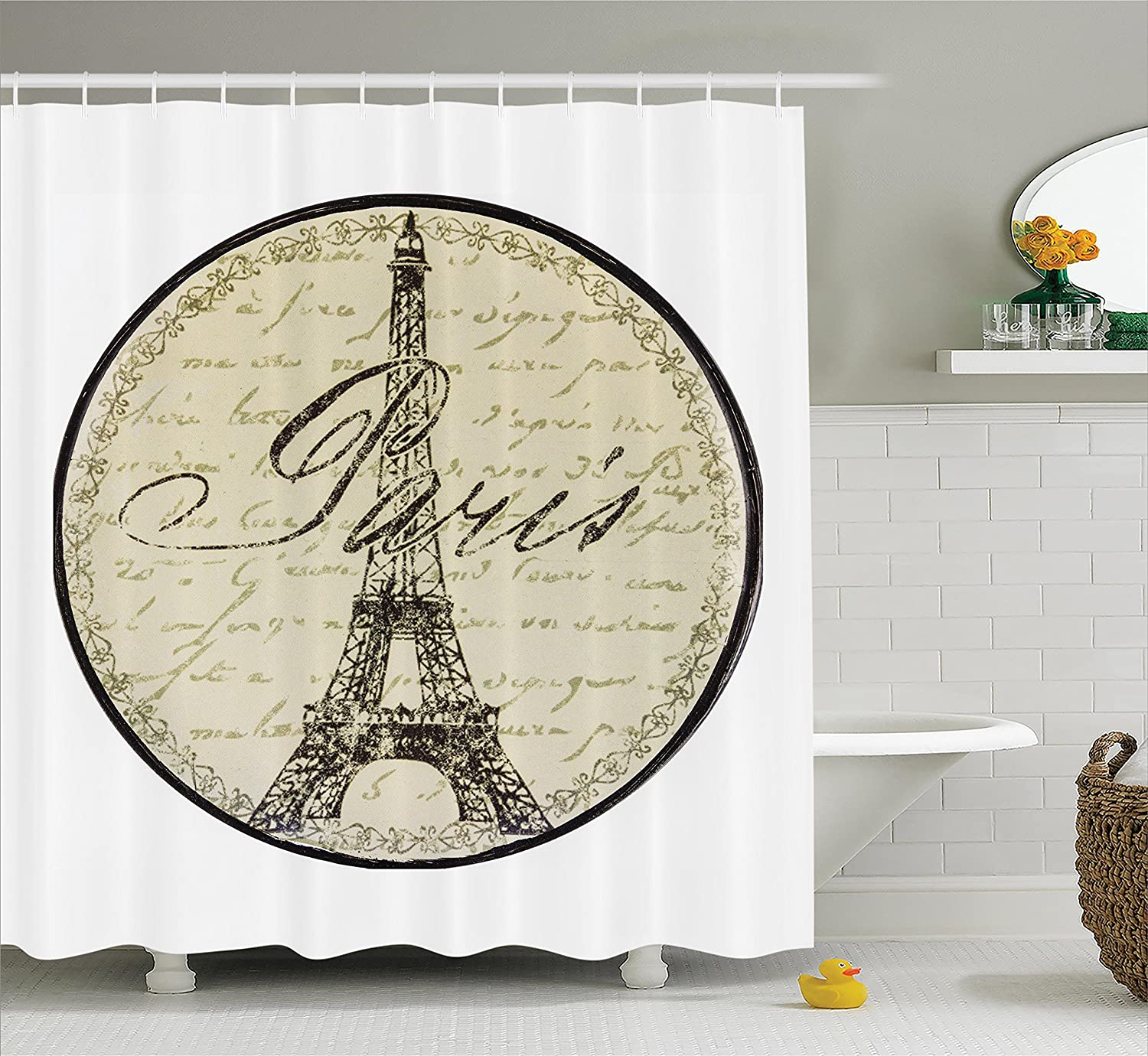 Fabric Bathroom Decor with Hooks Black White sc/_18257/_Bicycle/_08.02/_long 75 Inches Long Ambesonne Bicycle Decor Shower Curtain Set by Ride Your Bike Lettering with Nostalgic Mountain Bike Hand Drawn Stylized Sketchy Work