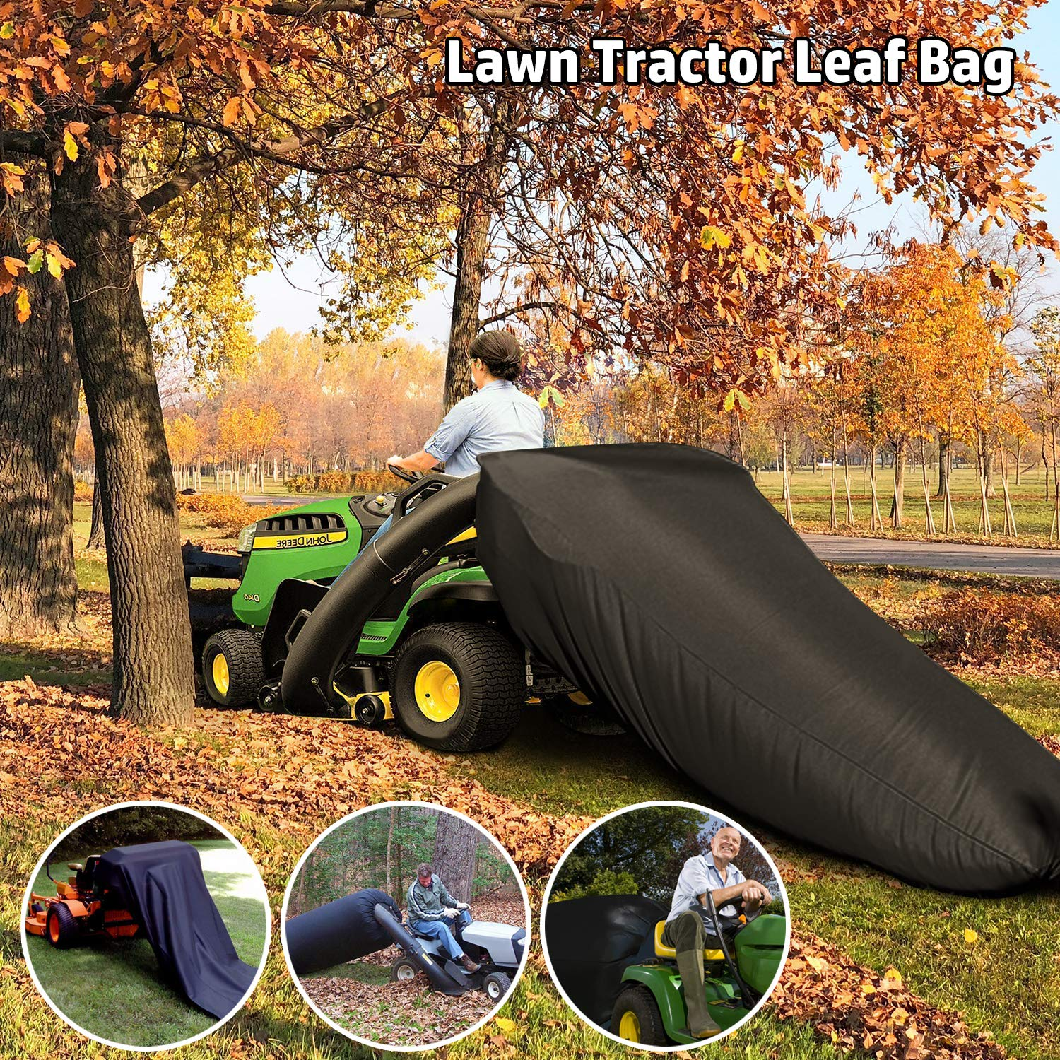 ORTIGIA Lawn Tractor Leaf Bag,Lawn Sweeper Tow Behind,Reusable Collecting Leaves Waste Bag,Mower Leaf Bag,Bag with Chute Kit for Cub Cadet XT1 LT42, XT1 LT46, XT2 LX42, XT2 LX46 Lawn Tractors.