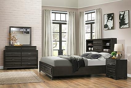 Roundhill Furniture Loiret 236 Antique Grey Bed Room Set/Queen Storage  Bed/Dresser/