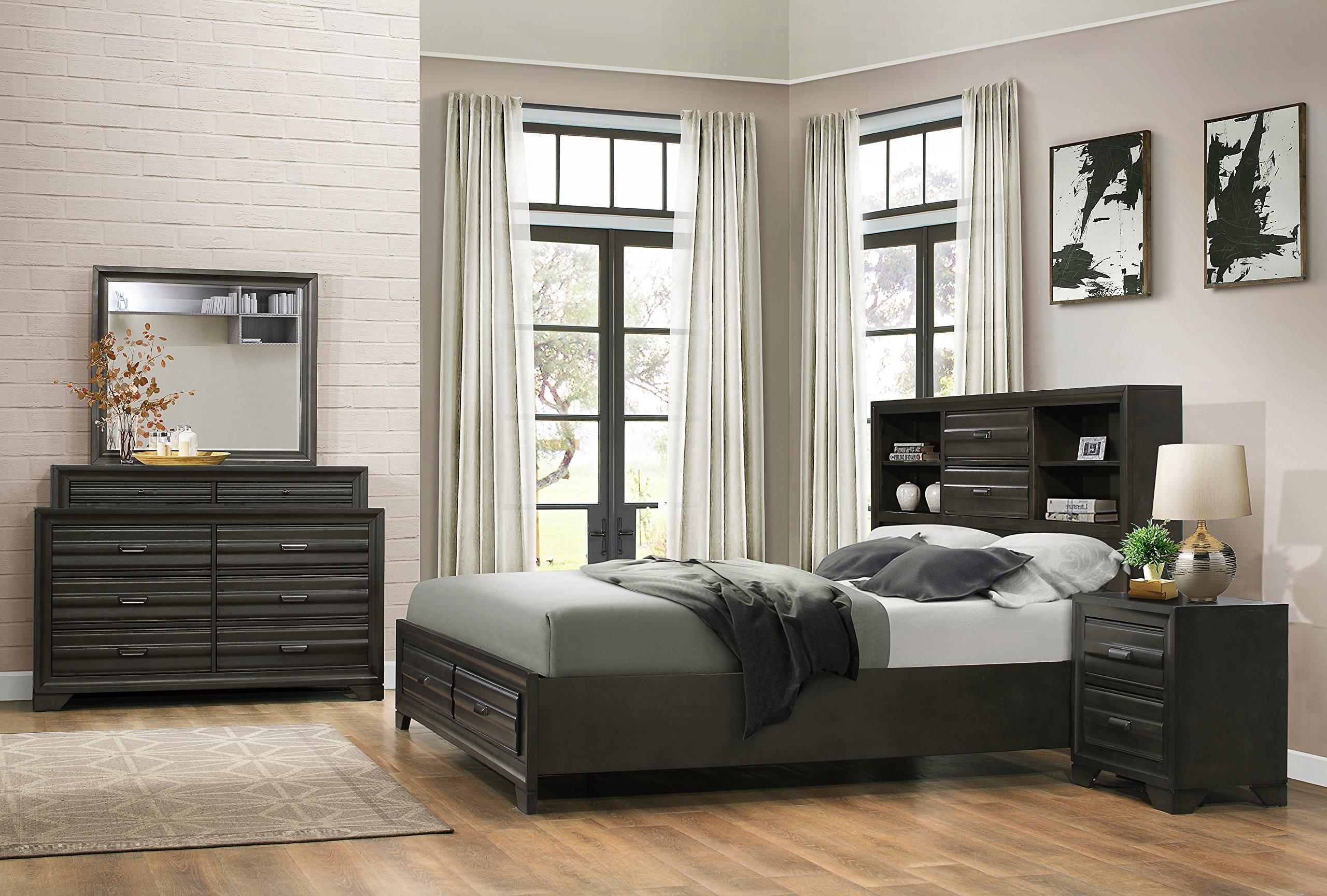 Roundhill Furniture Loiret 236 Antique Grey Bed Room Set/Queen Storage Bed/Dresser/Mirror/Night Stand