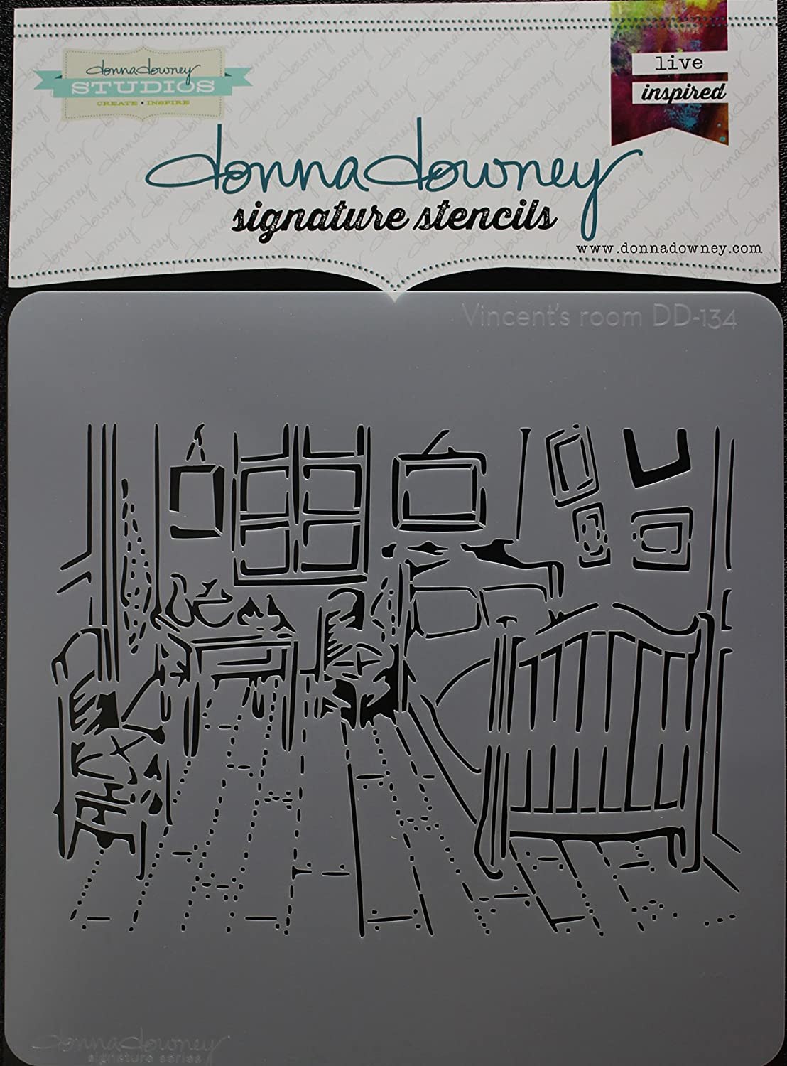 Donna Downey Stencils DD-134 Signature Stencils 8.5X8.5-Vincents Room