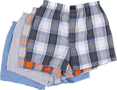b4def31ff4c7 Jockey Men's Active Blend Woven Boxer 4-Pack, Neo Orange Metal Grey/Blue