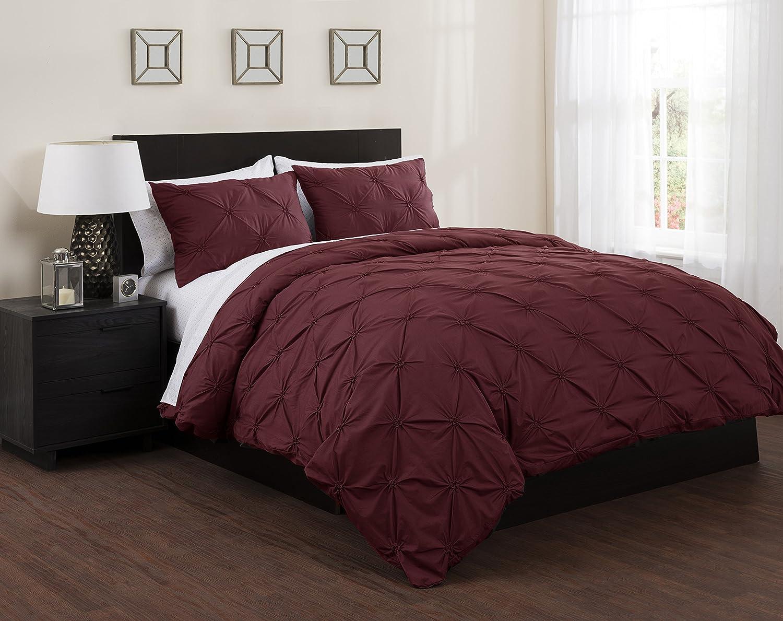 Republic Solid Ornamental Tucks Bed in a Bag Duvet Set, Full, Garnet