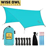 Wise Owl Outfitters Rain Fly Tarp – The WiseFly by Premium 11 x 9 ft Waterproof Camping Shelter Canopy – Lightweight Easy Setup for Hammock or Tent Camp Gear - 5 Colors